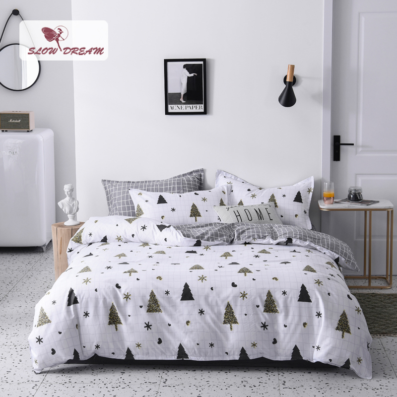 SlowDream Christmas Tree Printing Complete Bedding Set No Comforter Duvet Cover Flat Sheet Pillowcases 3/4PCS Bed Linen Set