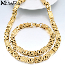 Moorvan Gold-color Men New Design Jewelry Set Party Necklace/Bracelet Long 55cm/22cm Trendy Accessory VBD022