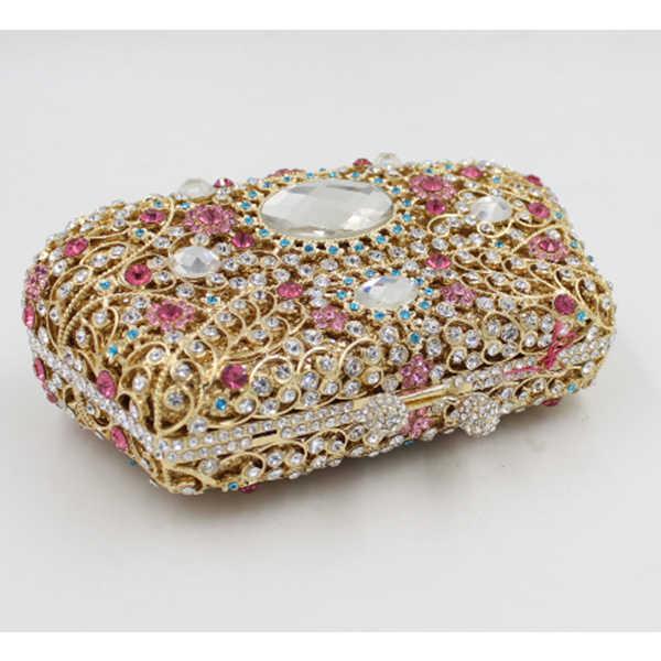 Diament + metalowa rama torba kobieca wieczór Party sprzęgła torebka torebka dzień sprzęgła dla portfele damskie Sac główne różowy/złoty /czerwony/biały