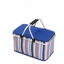 New 32L Large Ice Bag Folding Picnic Insulated Bag BBQ Meat Drinks Cooler Bag Folding Basket for Holidays Parties Picnic Grill