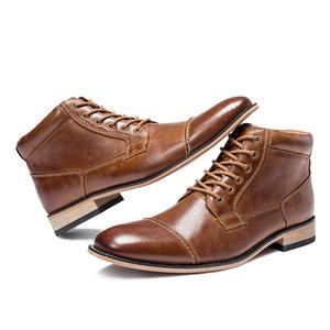 Image 4 - VRYHEID ماركة عالية الجودة الرجال الأحذية حجم كبير 40 50 جلد طبيعي خمر حذاء رجالي موضة عادية الخريف الشتاء حذاء من الجلد