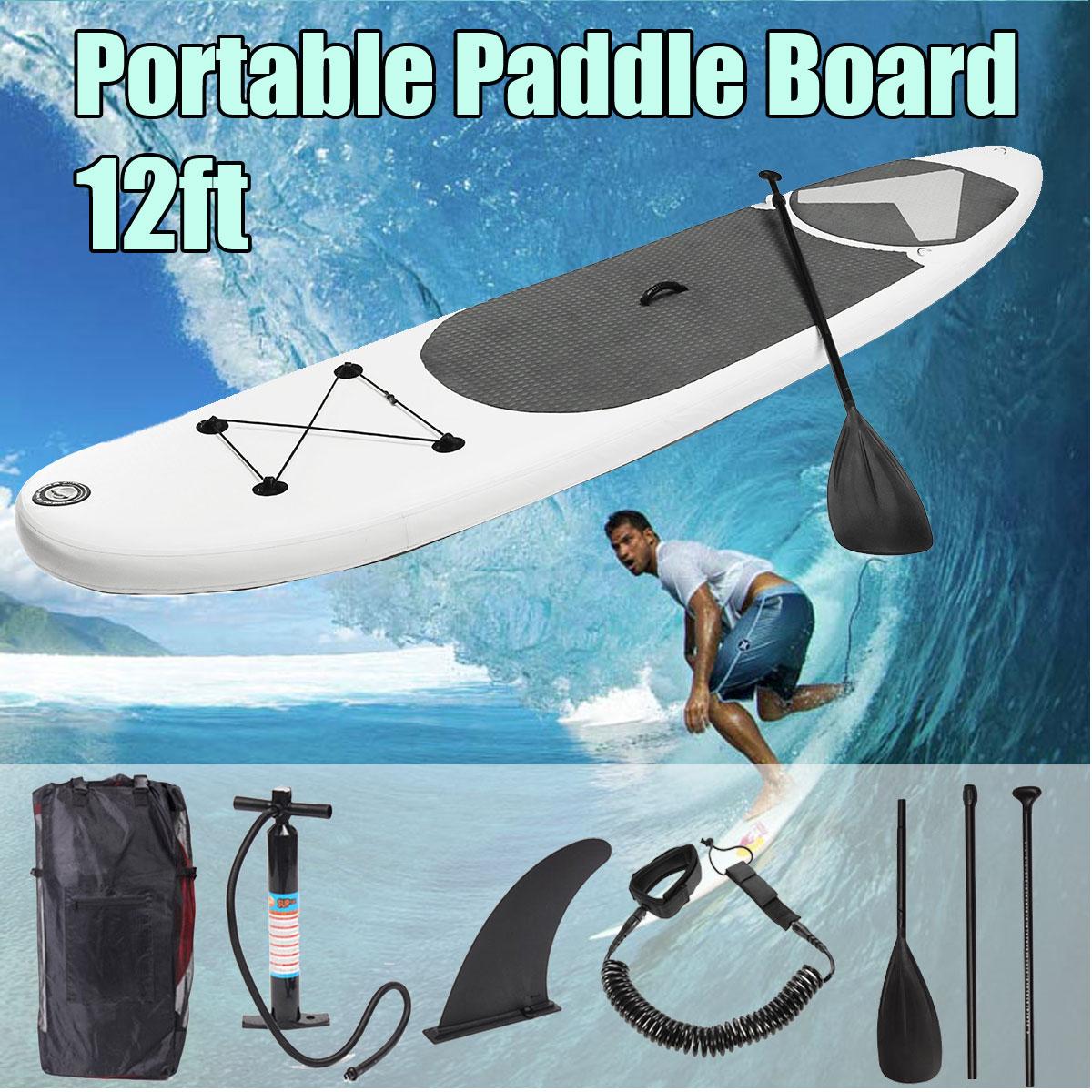 SGODDE 365*83*15 cm 12ft Portable Gonflable Surf Aileron Planche de Surf Stand Up Paddle Board
