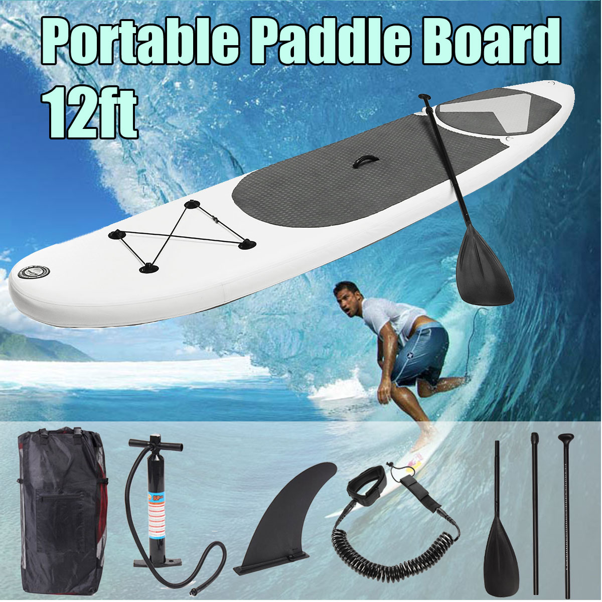 SGODDE 365*83*15 cm 12ft Portable Gonflable Surf Aileron Planche de Surf Stand Up Paddle Board