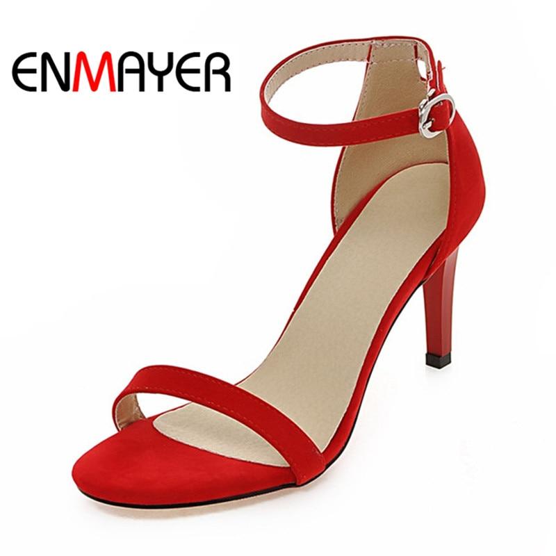 ФОТО ENMAYER Fashion Peep Toe Pumps Plus Size Spring/Autumn Sexy Women Shoes Lady Ankle Strap Sandals Women Thin Heels Wedding Shoes