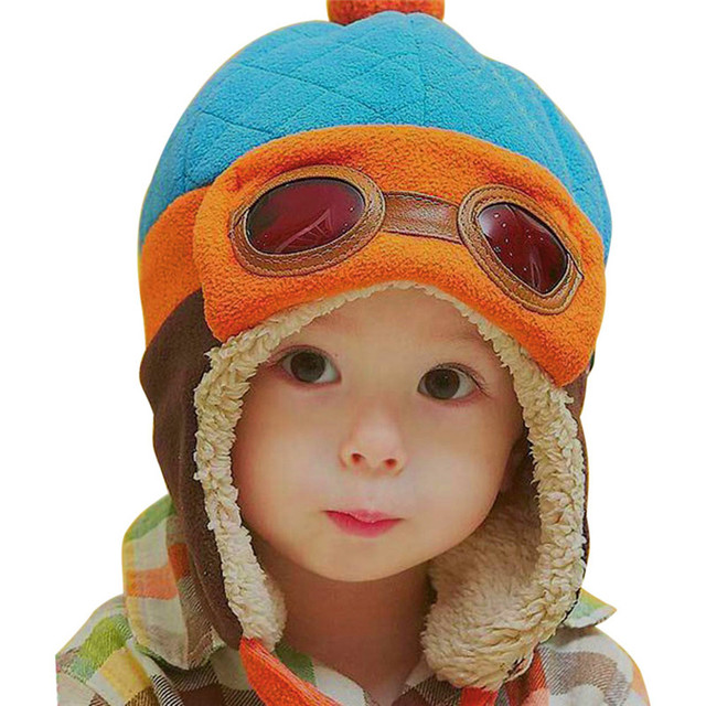 ad52f391ad6 Baby Pilot Hat Toddlers Kids Cool Aviator Winter Warm Cap for Baby Boy Girl  Infant Ear Flap Soft Hat Beanies