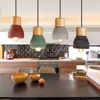 Industrial Modern Wood Wooden Candy Colorful Concrete Handmade Cement Fixture Lamp Light Pendant Lighting Lamp Cafe