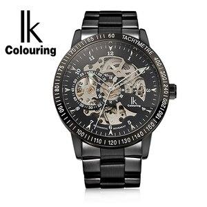 Image 4 - Ikcoloring золотые Роскошные мужские часы с автоматическим скелетом, механические наручные часы, модные повседневные часы из нержавеющей стали
