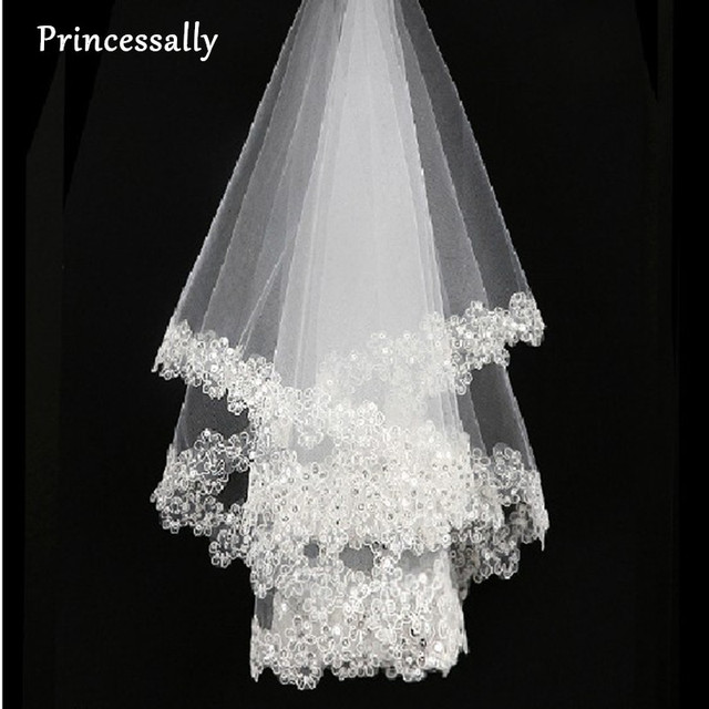 Princessally Ivory Wedding Veil New White Lace Bling Appliques Bridal Soft Tulle Fashion Real Picture