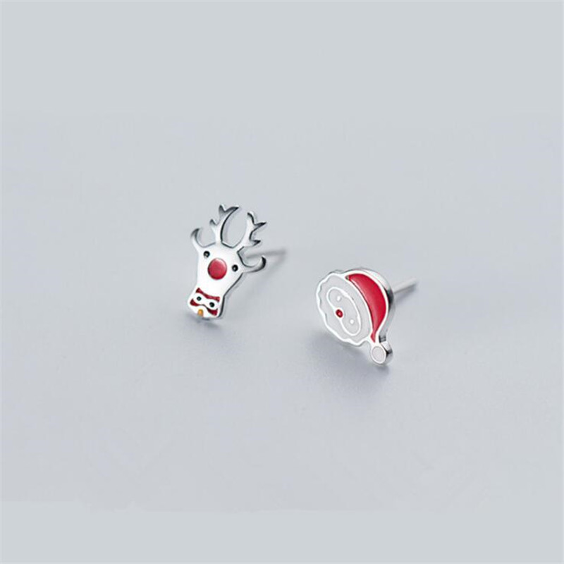 Knowledgeable New Personality Asymmetric Deer And Santa Claus Grandpa 925 Sterling Silver Fashion Jewelry Christmas Gift Stud Earrings E600 Jewelry & Accessories