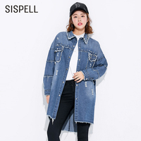 SISPELL Denim Korean Fashion Clothing Blouses Rivet Turn Down Collar Batwing Sleeve Long Hole Women S