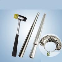 Jewelry Tools 4PCS/Set Ring Enlarger Stick Mandrel Handle Hammers Ring Sizer Finger Measuring Stick 25~28cm/1.1cm Drop Shipping