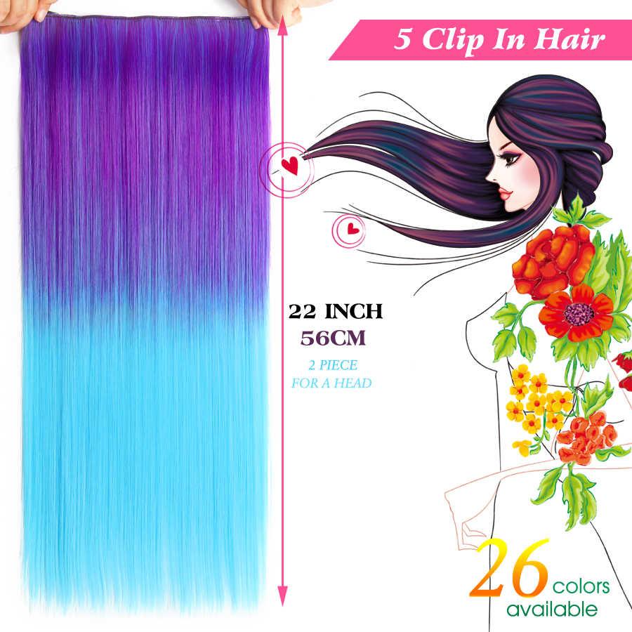 """Alileader Синтетические волосы Зажим в синтетических выдвижениях волос 5 Зажимы 22 """"55 см 120 г синий зеленый розовый градиент Omber Цвет Для женщин шиньоны"""