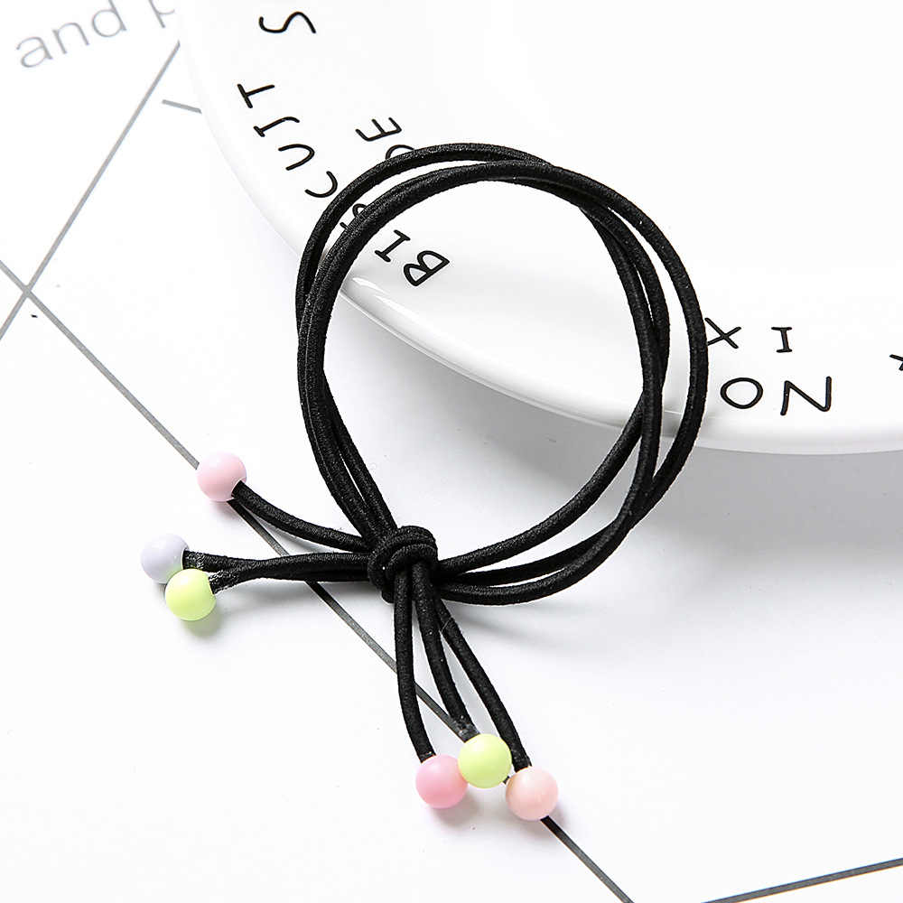 Korean version of the red bean hair ring hand knotting three in one hair rope high elastic color hair band head rope