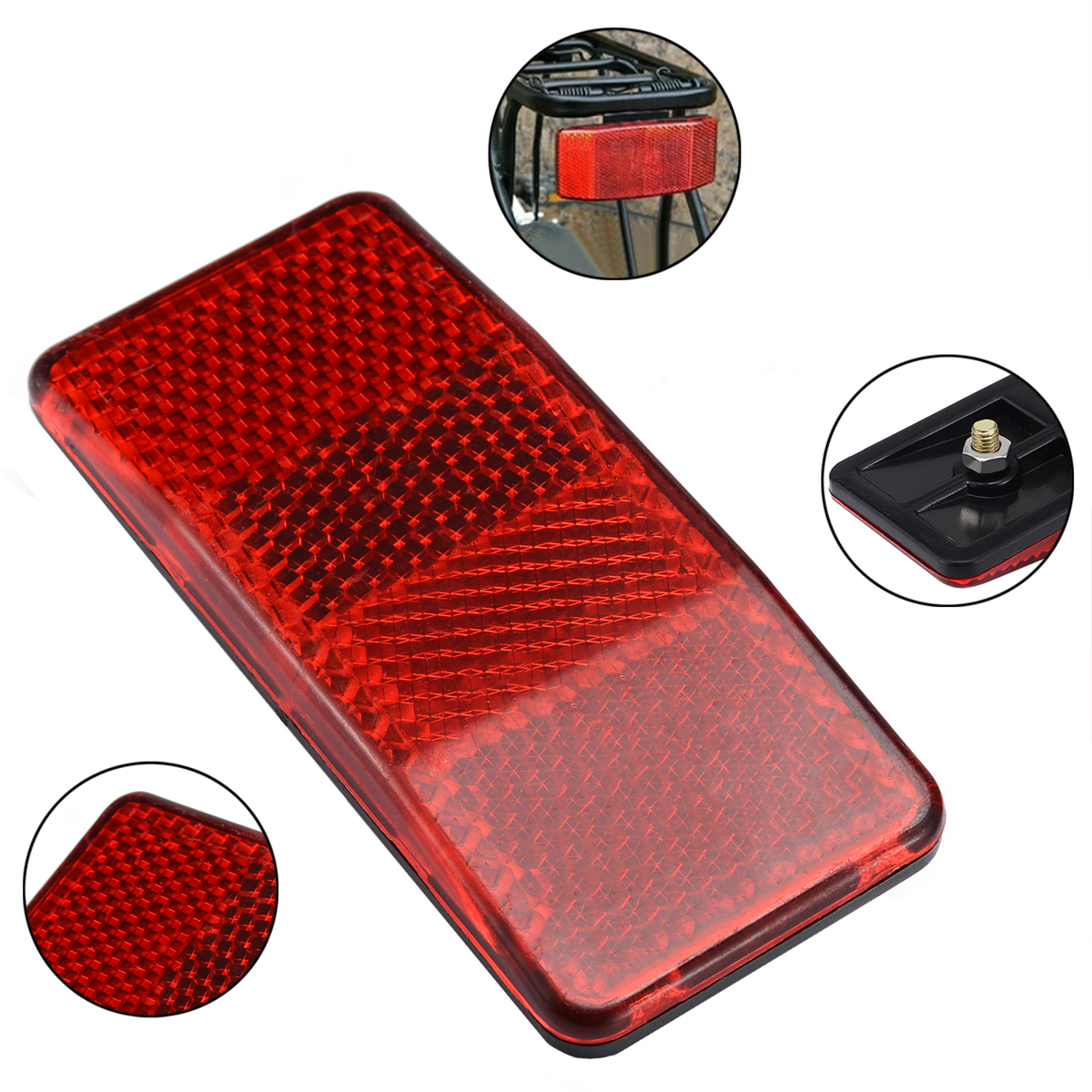 1Pcs Bike Reflector Bicycle Bike Mount Bike Cycling Safety Red Warning Reflect Light For Disc Rear Carrier Pannier Rack