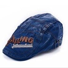 2016 New Fashion Denim Patch Beret Women's Hat Vintage Cap Men Boinas Gorras Berets Hats Casquette Flat Caps