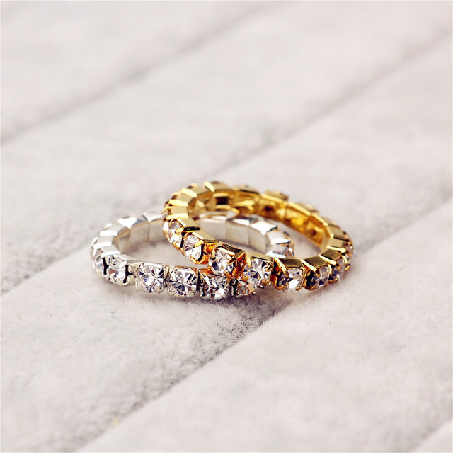 Le Bsiser Elastic 925 Stering Silver single Row CZ Crystal toe ring 3mm