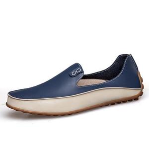 Image 2 - PUPUDA موضة أحذية من الجلد للرجال جديد الانزلاق على المتسكعون حجم كبير 47 أحذية قيادة عادية واسعة 2019 حذاء رسمي حذاء رياضة الذكور