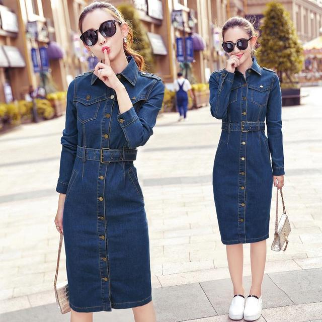 99f3e10b11f Summer Tunic Shirt Dress Women Denim Vintage Long Sleeve Jeans Dresses  Party Sexy Plus Size Dress