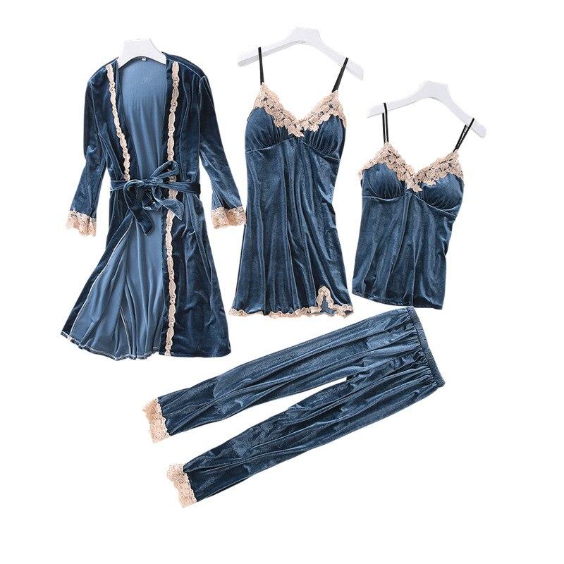 Spring Gold Velvet 4 Peices Warm Pajamas Set Women Sexy Lace Robe Pajamas Winter Sleepwear Sleeveless Nightwear