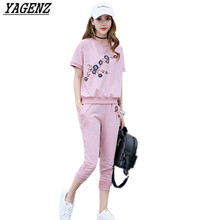 YAGENZ Women Sportswear Set Summer Embroidered Loose 2piece Set T Shirt Cotton+Pants Sweatshirts suit Casual Runway Sporting Set