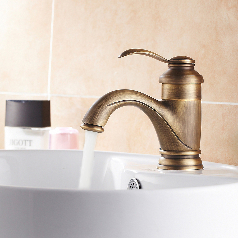 Antique Brass Classical Bathroom Basin Faucet Sink Mixer Tap Deck Mounted Faucet Hot and Cold Water