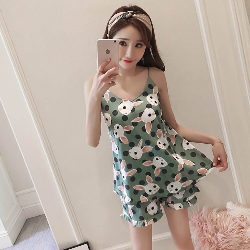 2019 Womens Luxury Sexy Clothes WAVMIT V-Neck Summer Shortless Sleeve Pyjamas With Chest Pad Girl Student Pajamas Sets