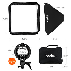 Image 3 - Godox Caja difusora de Flash de 40x40cm, 15x15 pulgadas, soporte tipo Speedlite + S, Kit de montaje Bowens con soporte de luz de 2m para fotografía de cámara