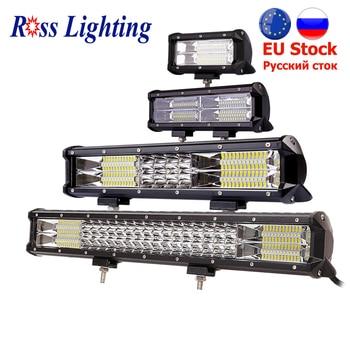 """9-34 """"inç arazi arabası ışığı çubuğu çalışma lambası 288W 324W otomatik LED çubuk traktör tekne 4WD 4x4 kamyon SUV ATV Combo işın sürüş lambası"""
