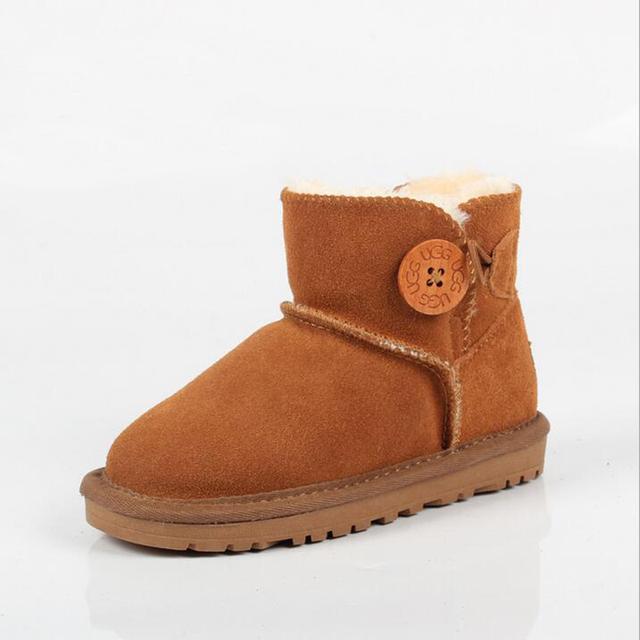 Botas de niñas Niños Niños zapatos corto Ugs Australia Botas de Marca Zapatos de Invierno UG embarcaciones botón botas de Nieve de Cuero Genuino de Australia