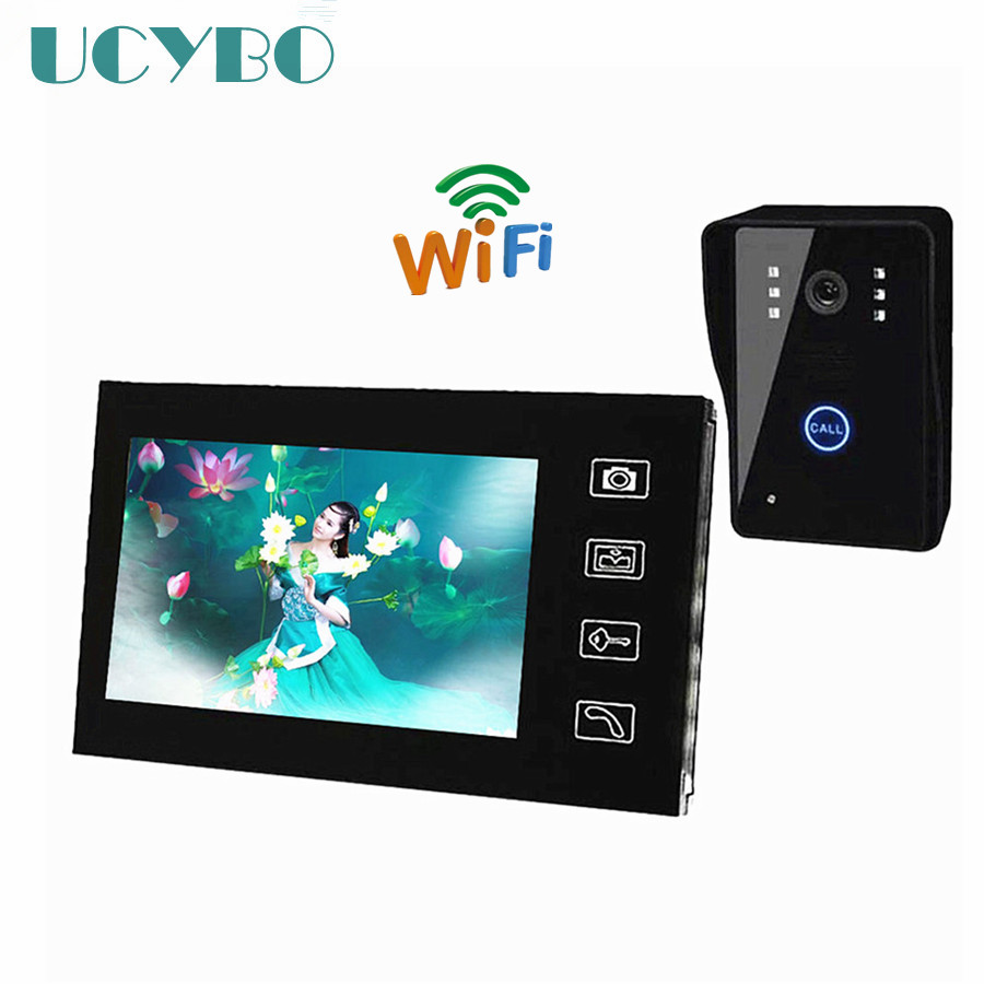 7 inch Wireless home Video Door phone wifi Monitor Video Door Bell Intercom doorphone System Take Pictures security Camera 7 inch password id card video door phone home access control system wired video intercome door bell