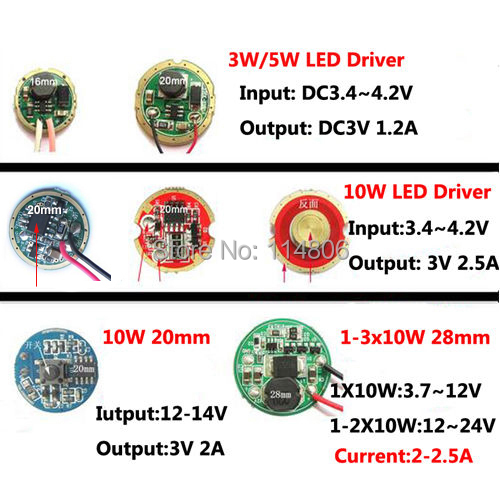 3 7v 7 4v 12v 24v Led Driver Supply For Cree 3w 5w 10w Xpe Xre Xpg2 Q5 Xml L2 T6 18650 Battery Flashlight Car Light In Flashlights Torches From