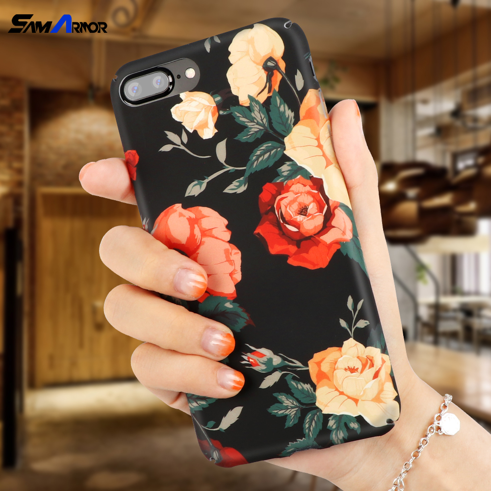 Floral Print Coque For iPhone 8 Plus Hard Case for iPhone 6 6S 7 8 X Plus 5 5S SE Cover Luxury Retro Floral Phone Cases Cover