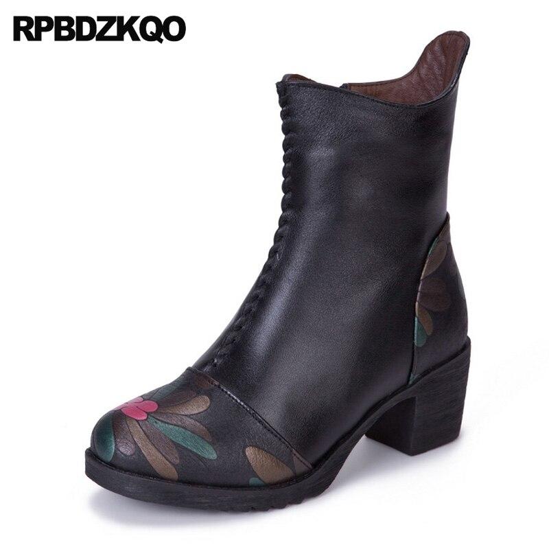 Invierno Redondo Tacón Impresa Grueso Impresión Floral De Plataforma Mujeres Botas Pie Vintage Medio Zapatos Tobillo Negro Piel Flor Del Dedo B5qwStw