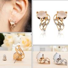 Korean Fashion Jewelry Trendy Statement Silver Stud Earrings Women Cute Fox Animal Handmade Crystal Rhinestone