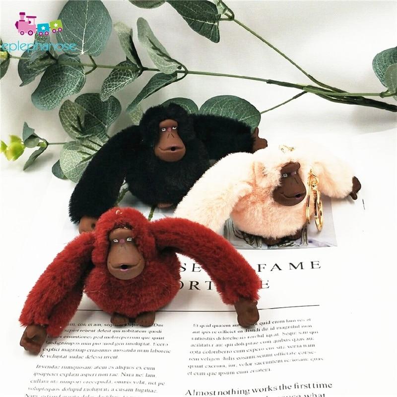 Fluffy Monkey Plush Toys Keychain Faux Fur Cartoon Children's Birthday Stuffed Toy Key Ring Animal Pendant Doll Kids Gift