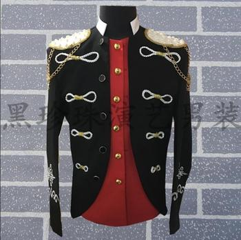 Black men suits designs homme terno stage costumes for singers mens palace blazer dance clothes jacket star style dress punk