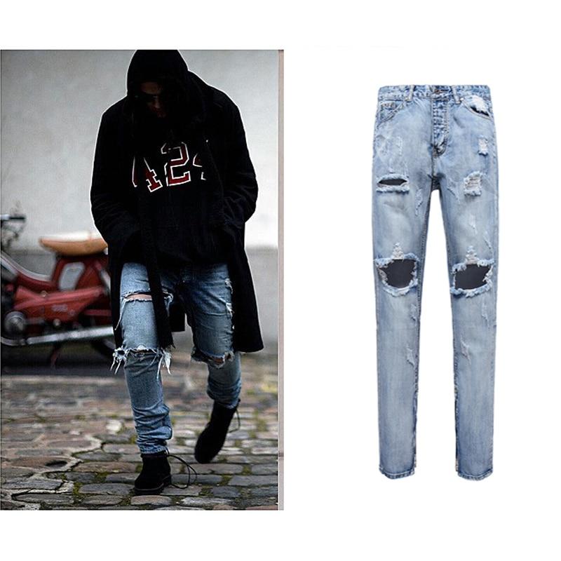 Best Version Men Zipper Destroyed Torn Pants Skinny Jeans Blue Pants Slim  Fit Fashion cotton jeans - Popular Destroyed Skinny Jean-Buy Cheap Destroyed Skinny Jean Lots