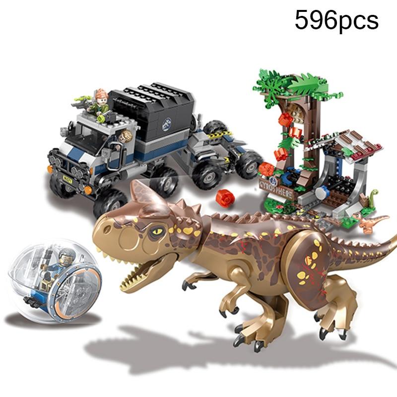 596Pcs Jurassic World Park 2 Escape Dinosaur Dragon Truck Action Figures Building Blocks Compatible Legoing Bricks Toys Kid Gift