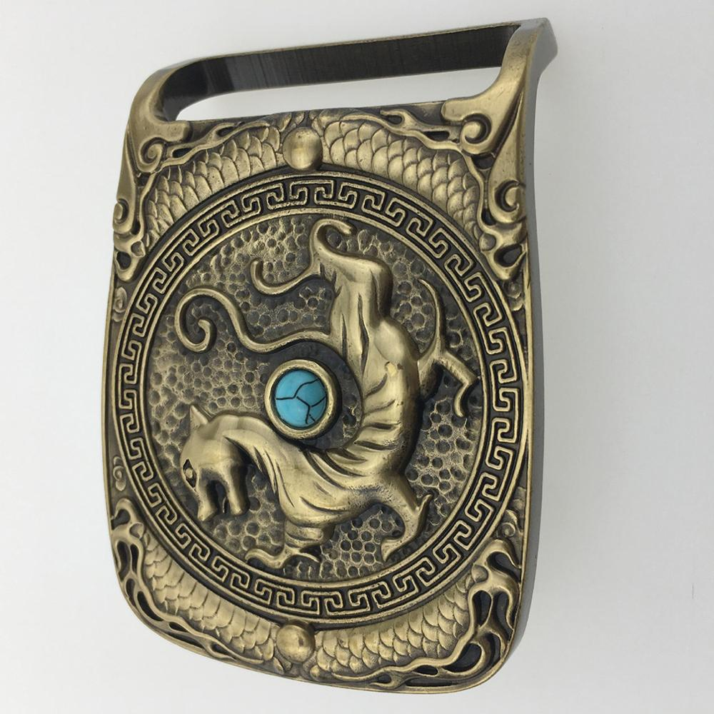CUKUP The Tang Dynasty Dragon Real Jade Decorative Brass Buckle Metal 3.7-3.9cm Wide Belt Cowboy Buckles Only for Men BRK028