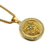 Hip Hop Band Ornaments Titanium Stainless Steel CZ Cubic Zirconia Lion Head Pendants Necklaces For Men