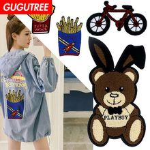 GUGUTREE towel embroidery big bear bike patches belle patches badges applique patches for clothing XC-308 embroidery sequined belle patches for jackets glasses girls badges applique patches for clothing a640
