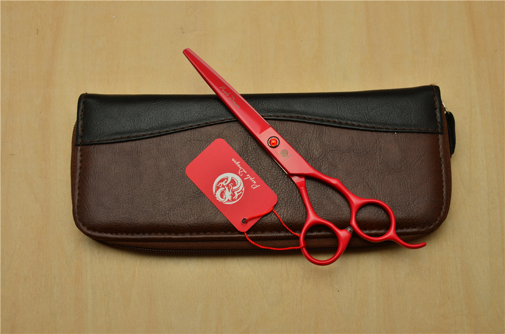 6.5 Inch 18.5cm Red Colour JP 440C Professional Human Hair Scissors Hairdressing Scissors Cutting Shears Thinning Scissors Z1007