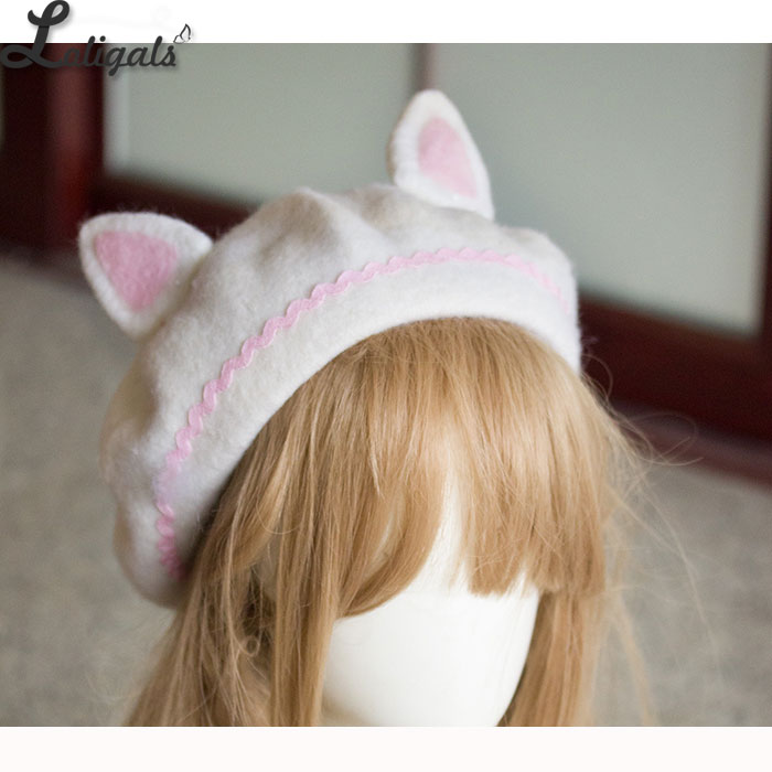 Image 5 - Lovely Womens Cat Ear Berets Cute Mori Girl Wool Berets for Winter Pink WhiteWomens Berets   -