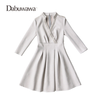 Dabuwawa Grey Autumn Sexy V Neck Mini Dress Vintage Suede Party Dress Beading Dress Vestidos