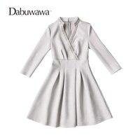 Dabuwawa Grey Autumn Sexy V Neck Mini Dress Vintage Suede Party Dress Beading Dress Vestidos