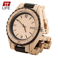 TTLIFE Mens Pure Sandalwood Watches Wooden Analog Date Calendar Hidden Clasp Natural Wood Casual Quartz Wristwatch Men Relogio