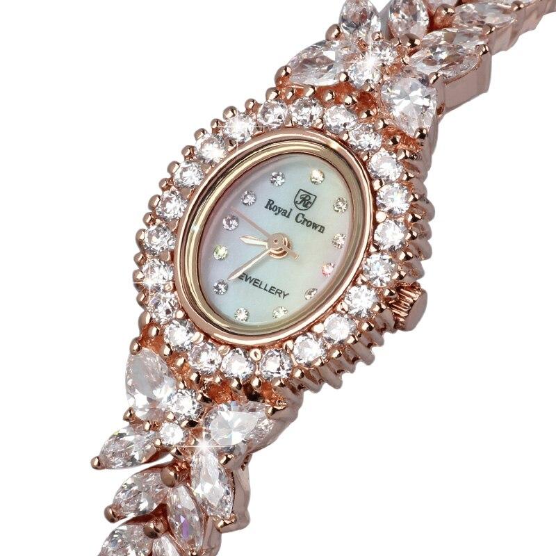 Couronne royale Montre de Bijoux Femmes Prong Réglage Zircon Cubique De Luxe Pleine Cristal Mother-Of-Pearl Lady Horloge Fille de Cadeau Boîte