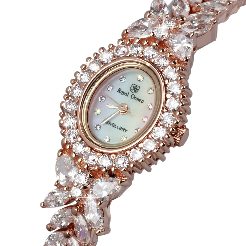 Royal Crown Jewelry Women's Watch Prong Setting Cubic Zircon Luxury Full Crystal Mother-of-pearl Lady Clock Girl's Gift Box claw setting men s watch women s watch sapphire crystal fine clock stainless steel bracelet luxury lovers gift royal crown box