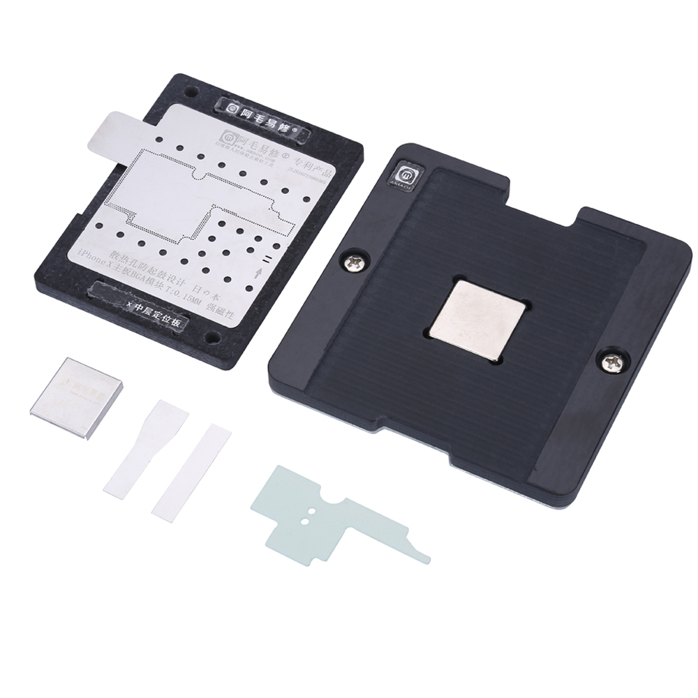 цена на Motherboard PCB Holder With BGA Stencils For iPhone X Circuit Board Planted Tin Fixture Repair Tools Soldering Net