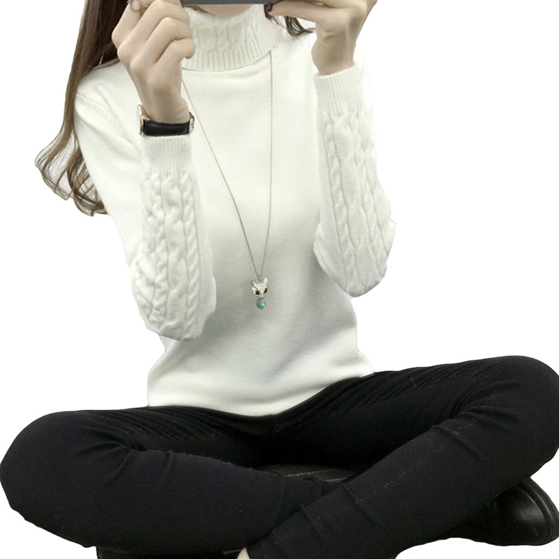 New Women Knitted Autumn Winter Sweater Women Long Sleeve Thick Turtleneck Sweaters Pullovers Female Jumper Tricot Tops